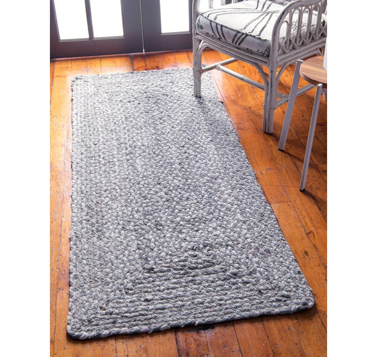 Image of 2' 6 x 6' Braided Chindi Runner Rug