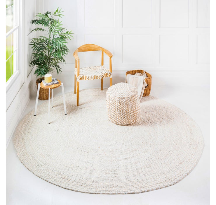 245cm x 245cm Braided Chindi Round Rug