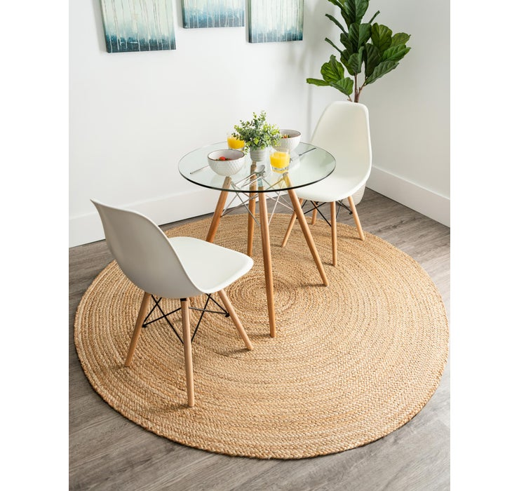 Image of 6' x 6' Braided Jute Round Rug