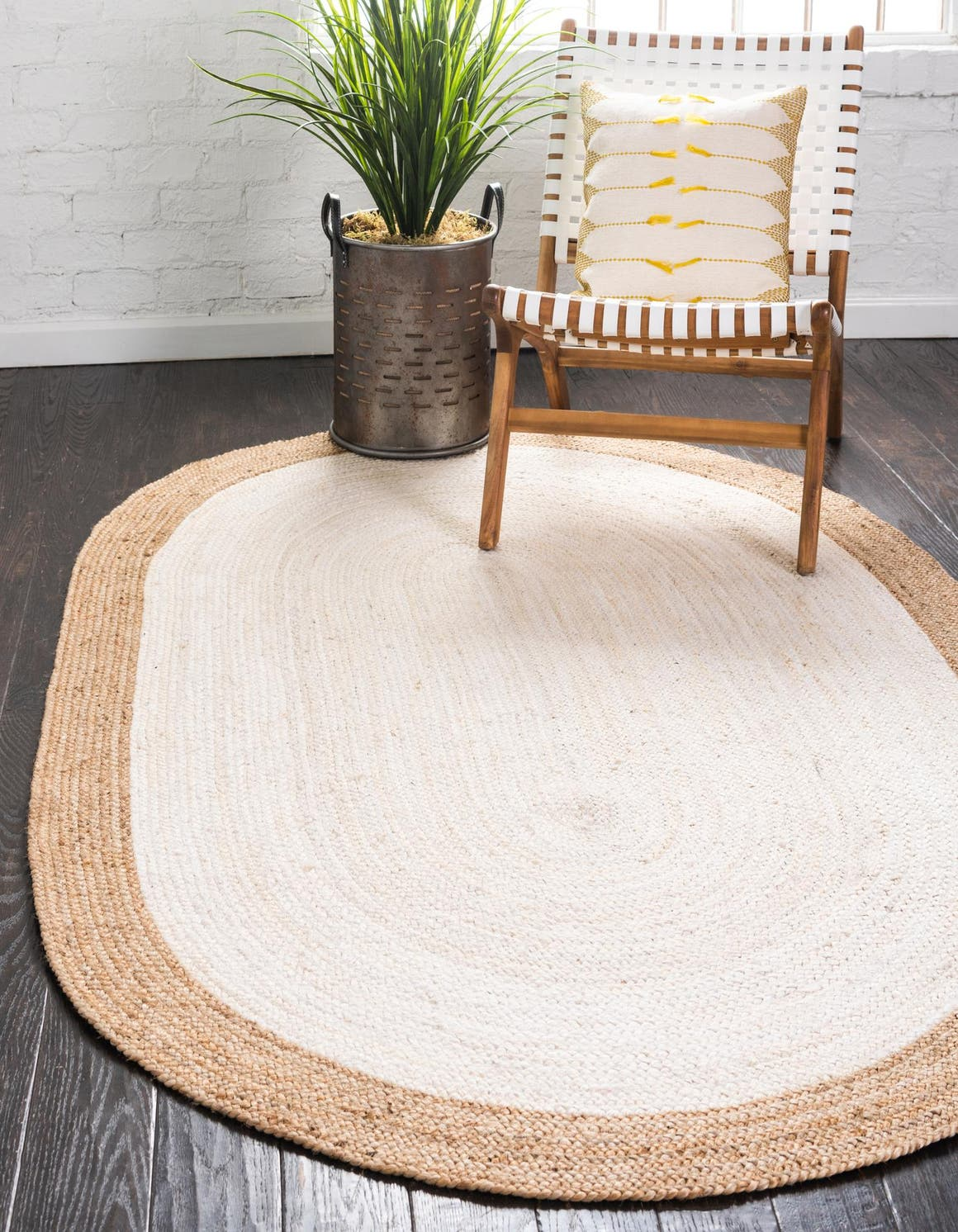 Ivory  5' x 8' Braided Jute Oval