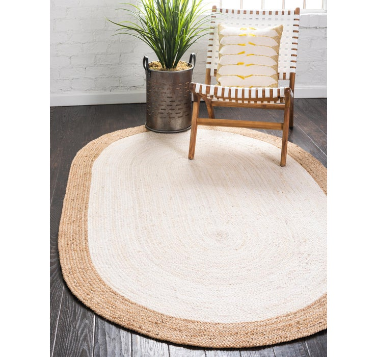 Image of 8' x 10' Braided Jute Oval Rug