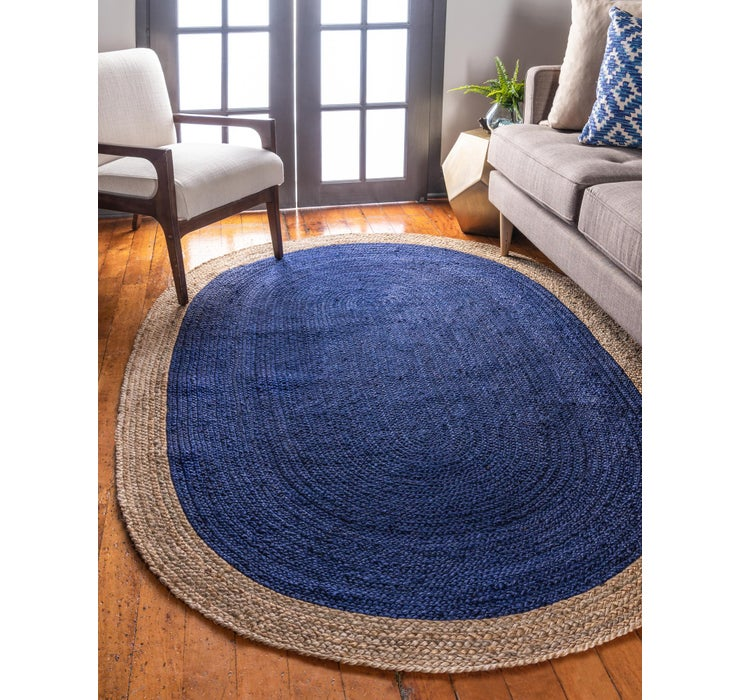 Image of 3' 3 x 5' Braided Jute Oval Rug