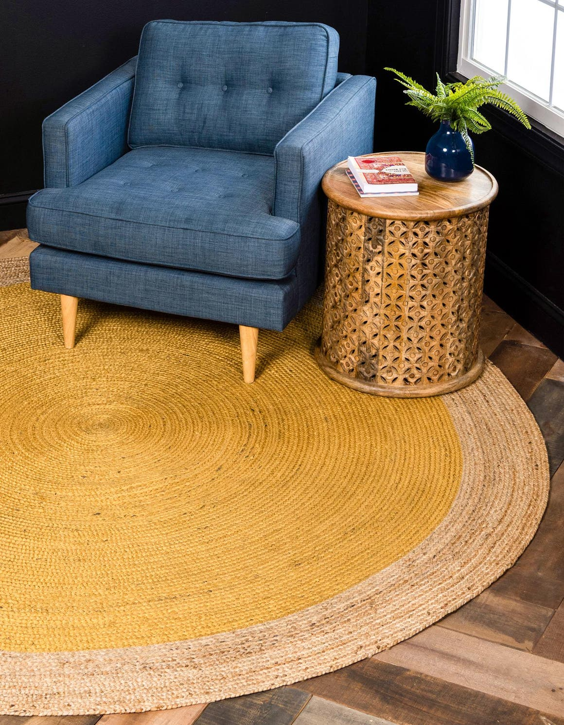 Yellow 8 X Braided Jute Round Rug