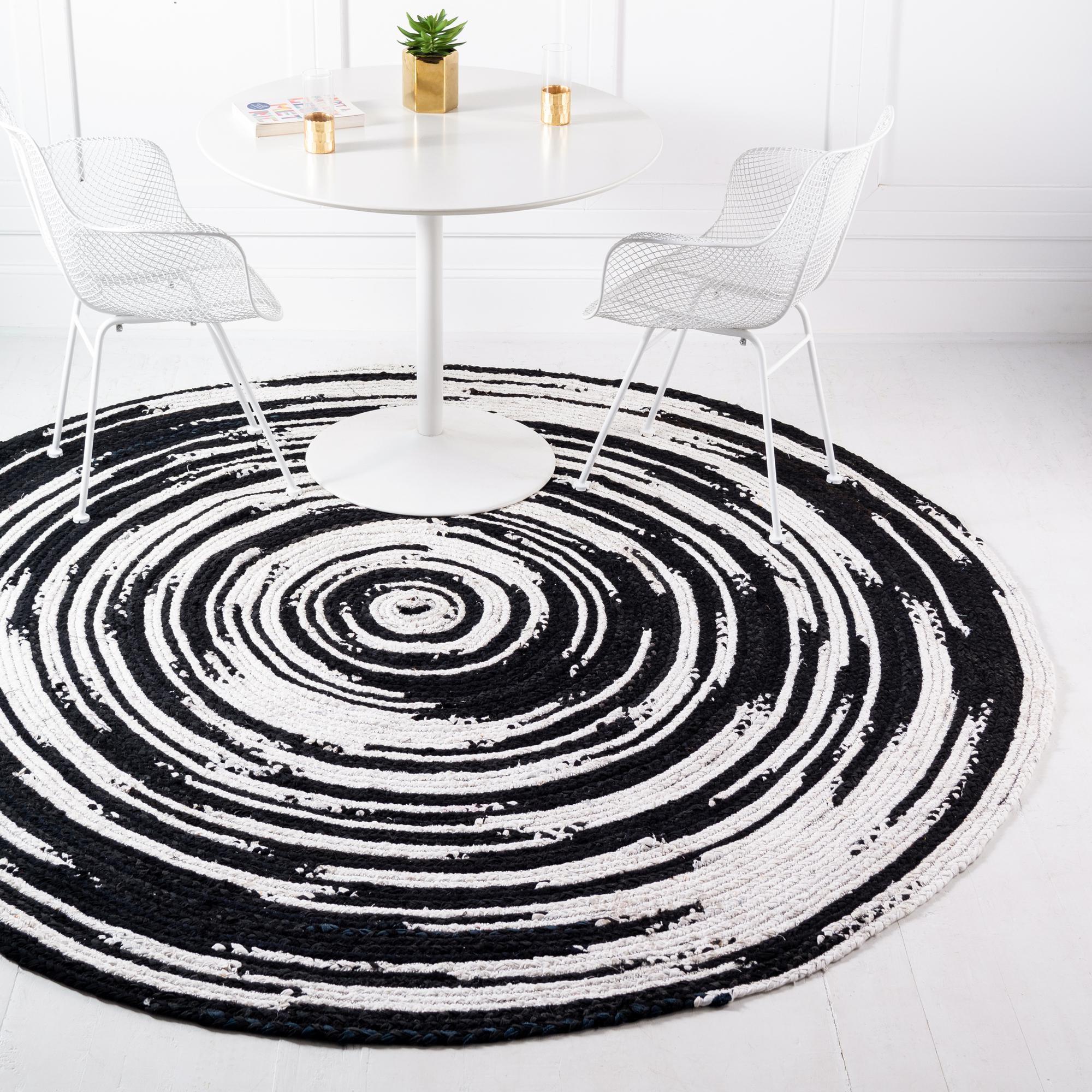Black And White 3 3 X 3 3 Braided Chindi Round Rug Rugs Com