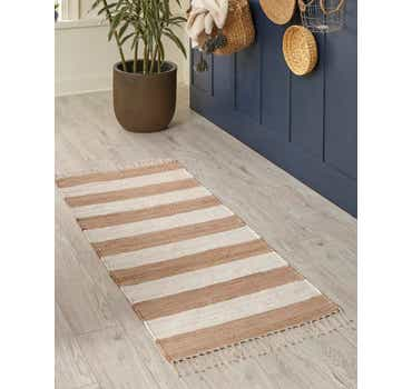 Image of  Beige Chindi Rag Runner Rug