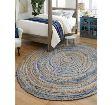 Image of 8' x 8' Braided Chindi Round Rug