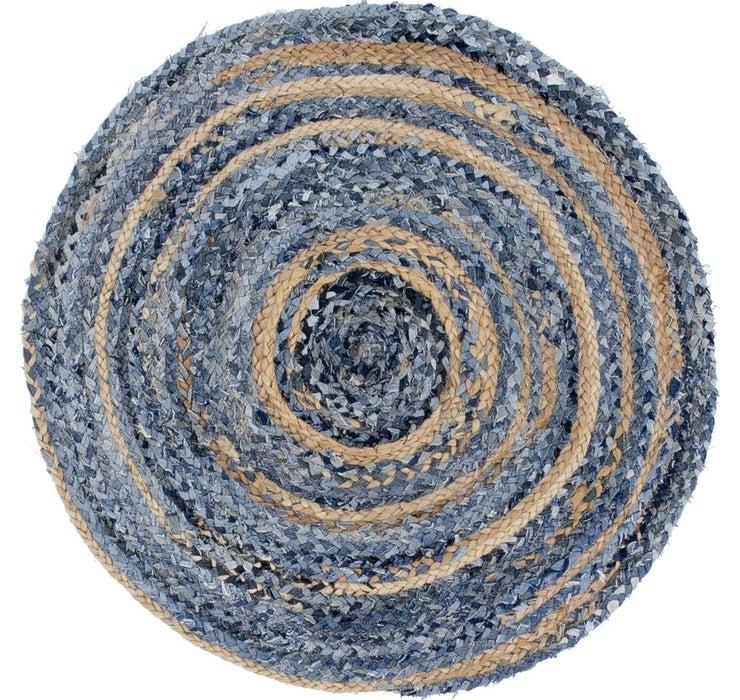 3' 3 x 3' 3 Braided Chindi Round Rug