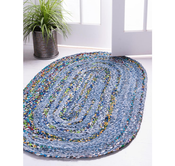 100cm x 152cm Braided Chindi Oval Rug