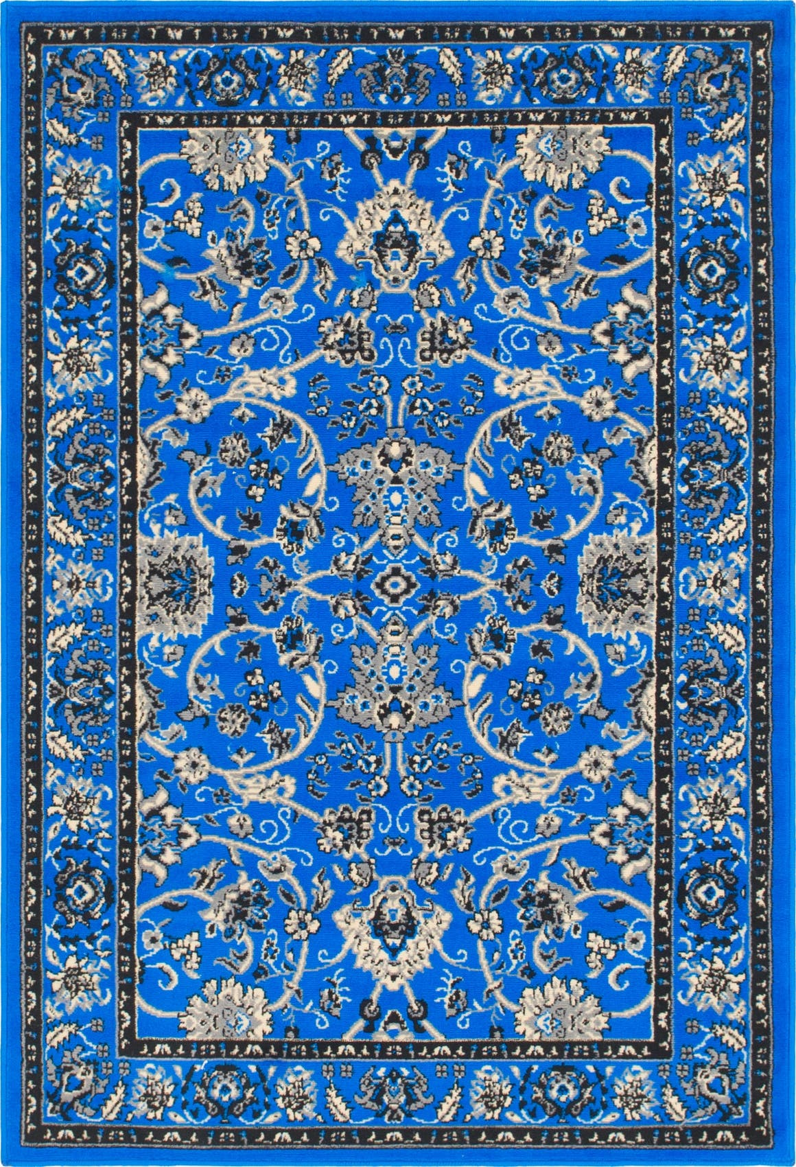Dark Blue  4' x 6' Kashan Design