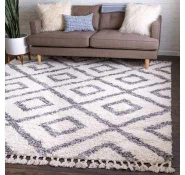 Image of  Ivory Athena Shag Square Rug