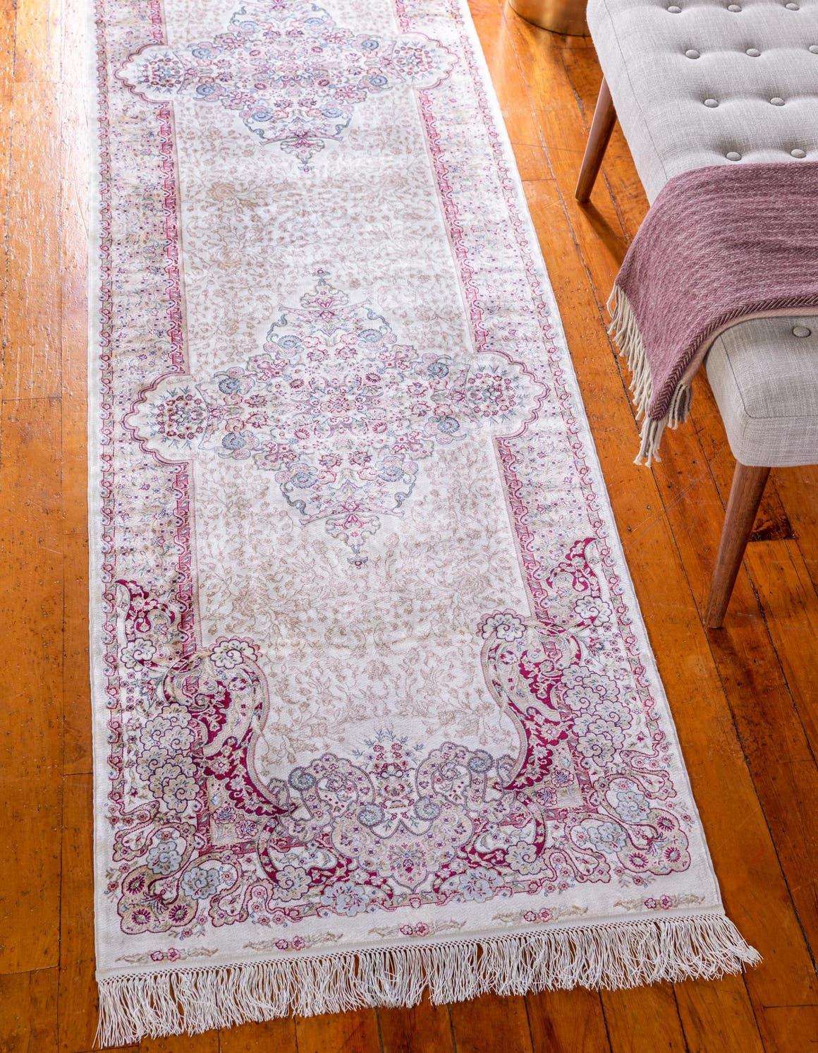 2' 7 x 9' 10 Qom Bamboo Silk Runner Rug main image