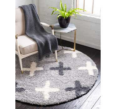 Image of Light Gray The Groove Round Rug