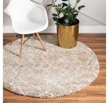 Image of  Taupe Morroccan Shag Round Rug