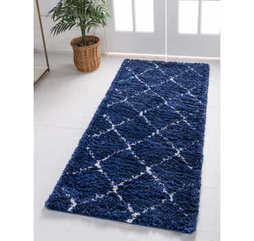 Image of  Navy Blue Morroccan Shag Runner Rug