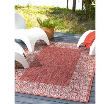 Image of  Rust Red Outdoor Border Rug