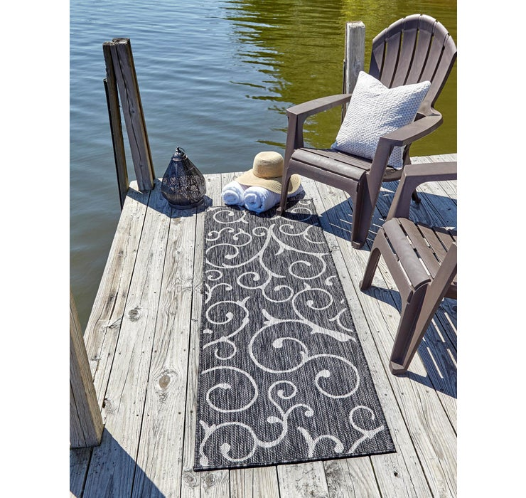 Charcoal Gray Outdoor Botanical Runne...