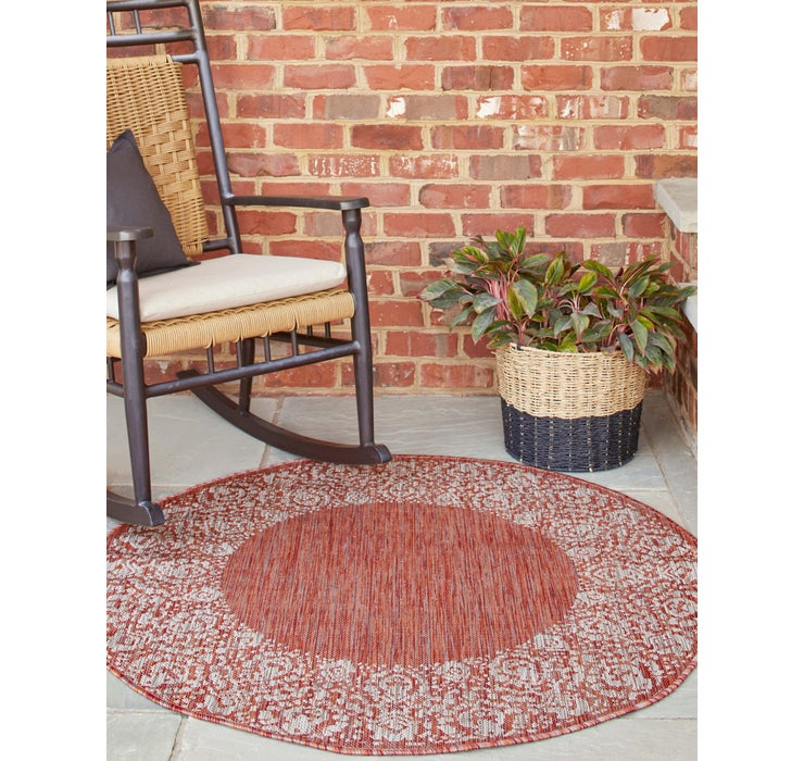122cm x 122cm Outdoor Border Round Rug