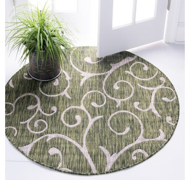 4' x 4' Outdoor Botanical Round Rug main image