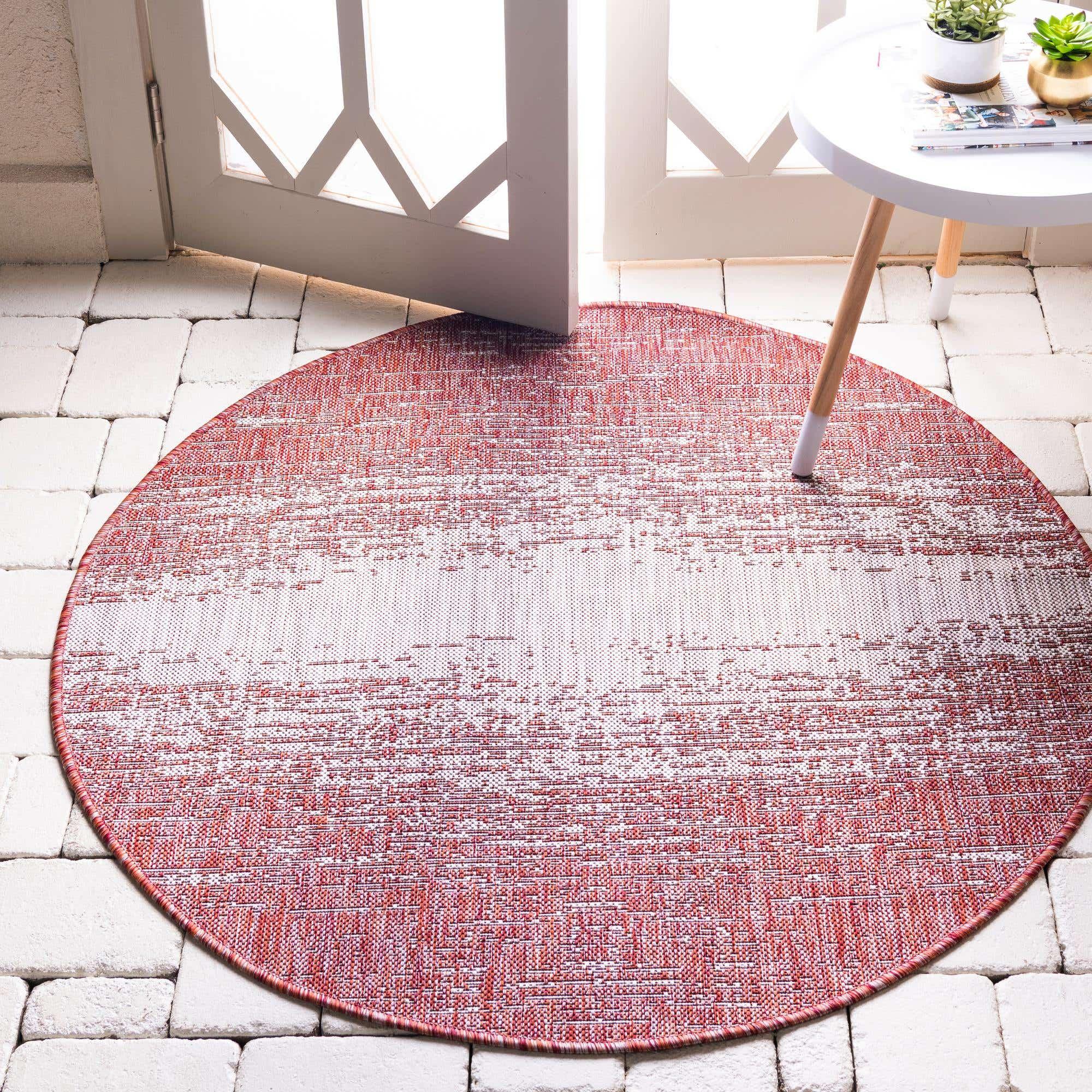 Rust Red 122cm X Outdoor Modern, Round Outdoor Rugs Au