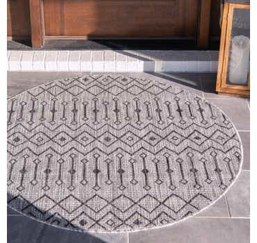 Light Gray Outdoor Lattice Round Rug