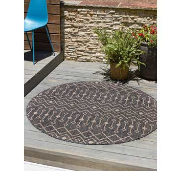 Image of  Charcoal Gray Outdoor Lattice Round Rug