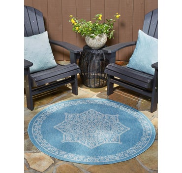 122cm x 122cm Outdoor Traditional Round Rug main image
