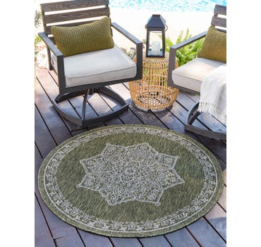 122cm x 122cm Outdoor Traditional Round Rug