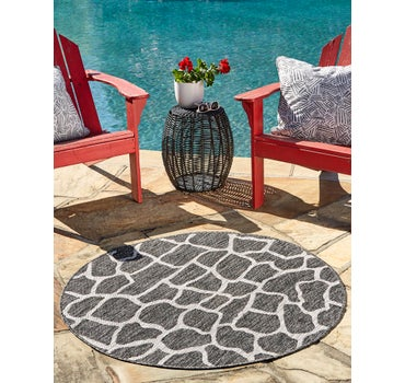 4' x 4' Outdoor Safari Round Rug main image