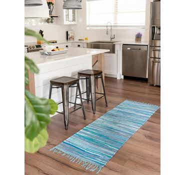 Image of  Light Blue Chindi Cotton Runner Rug