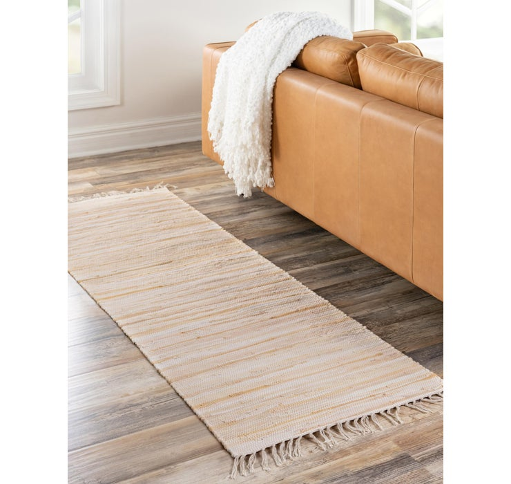 Beige Chindi Cotton Runner Rug