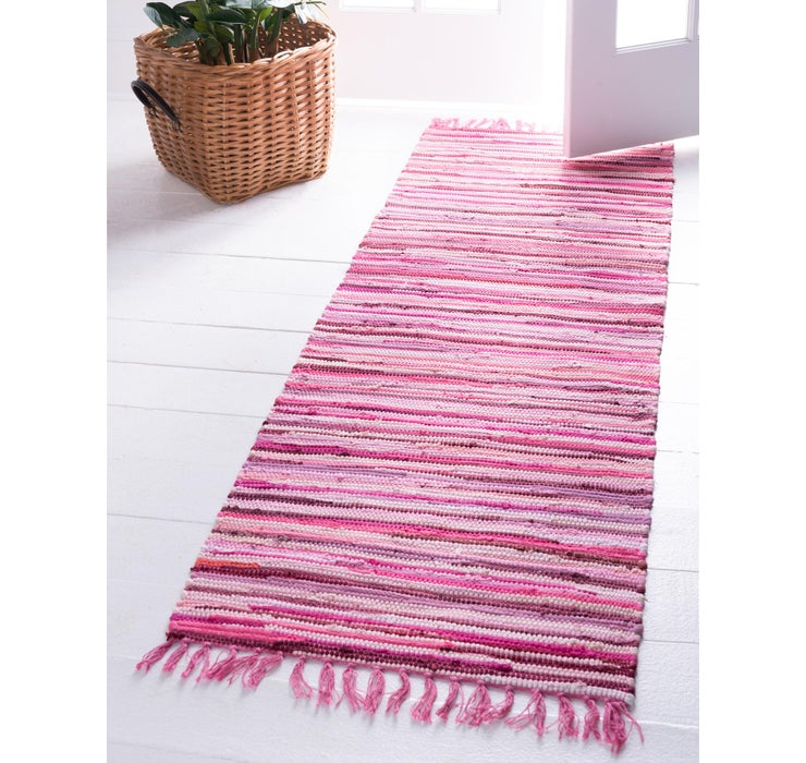 Image of 80cm x 300cm Chindi Cotton Runner Rug