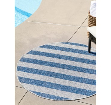 4' x 4' Outdoor Striped Round Rug main image