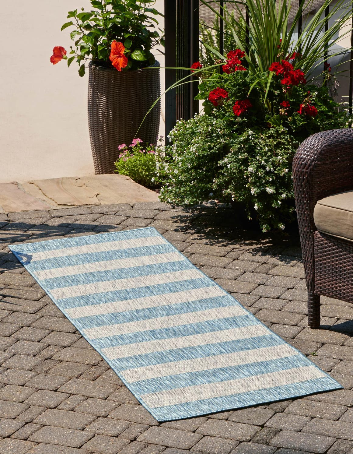 2' x 6' Outdoor Striped Runner Rug main image