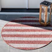 4' x 4' Outdoor Striped Round Rug thumbnail