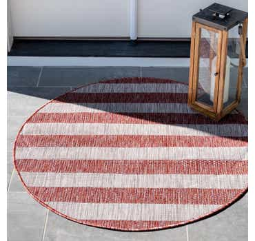 Image of 4' x 4' Outdoor Striped Round Rug