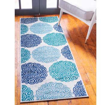 Image of Jane Seymour Turquoise Open Hearts Runner Rug