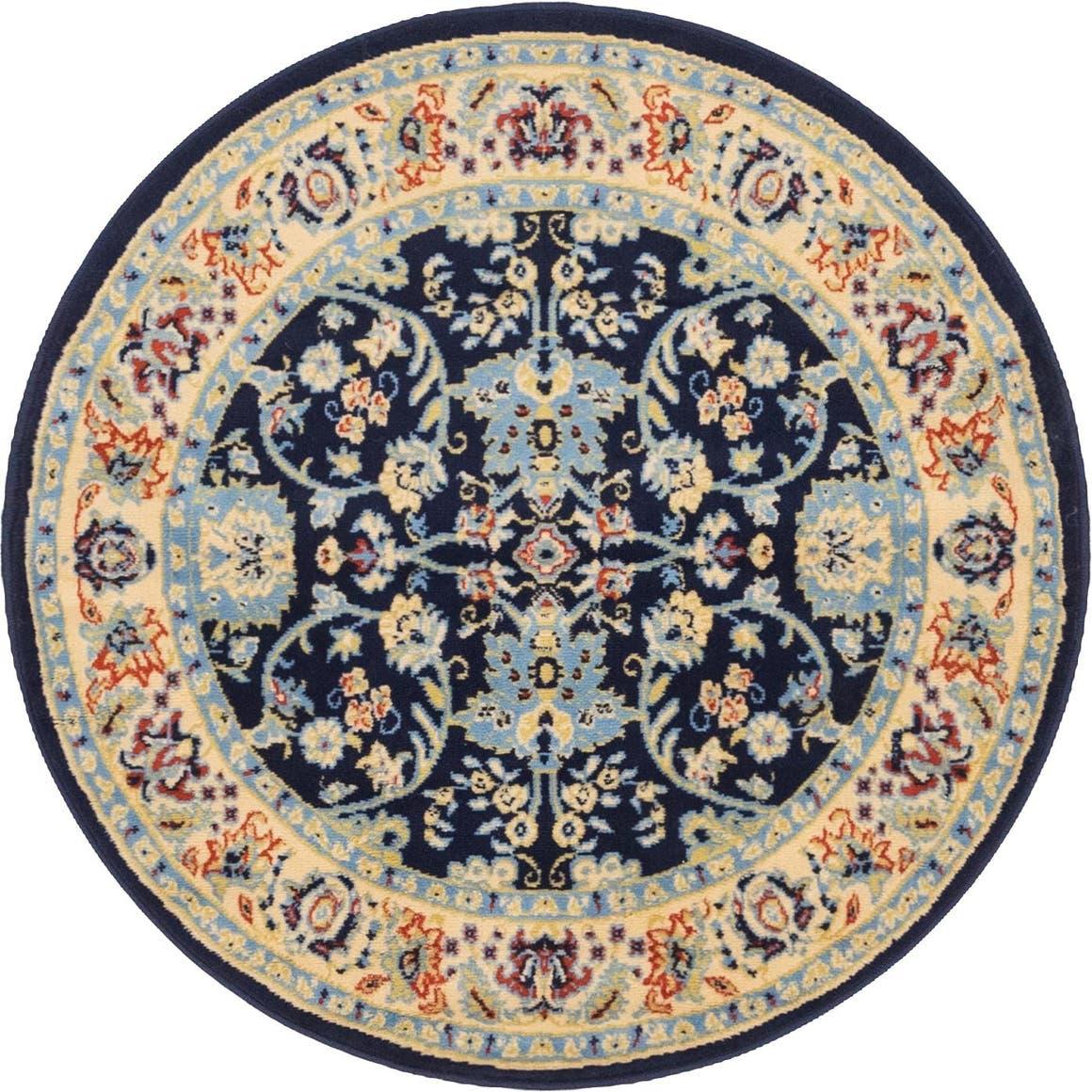 4' x 4' Kashan Design Round Rug main image