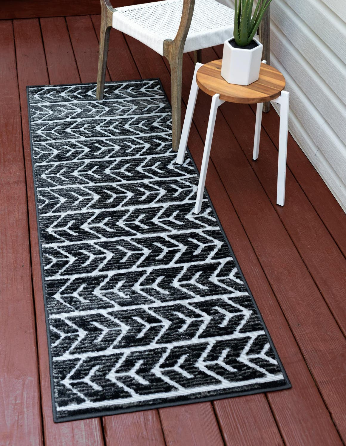 Black  2' x 8' Sabrina Soto Outdoor Runner