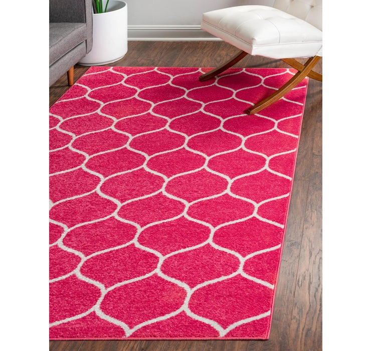 Image of  Pink Lattice Frieze Rug