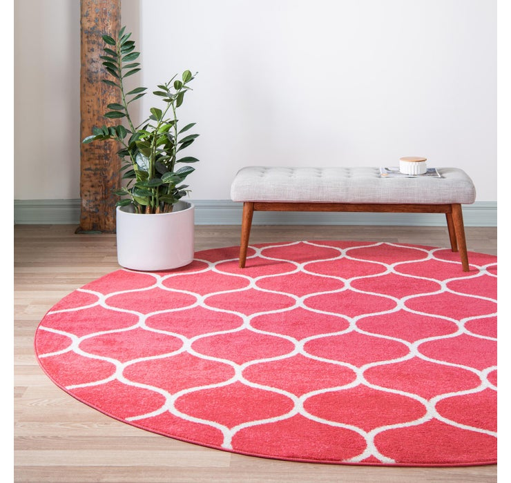 Image of  Pink Lattice Frieze Round Rug