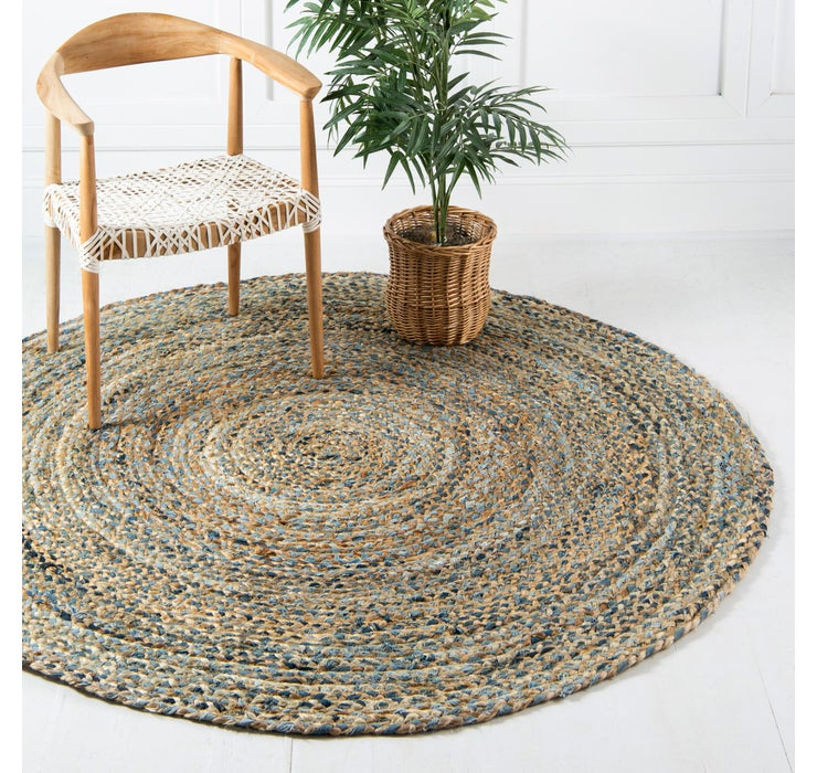 122cm x 122cm Braided Chindi Round Rug