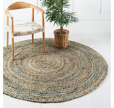 6' 3 x 6' 3 Braided Chindi Round Rug main image