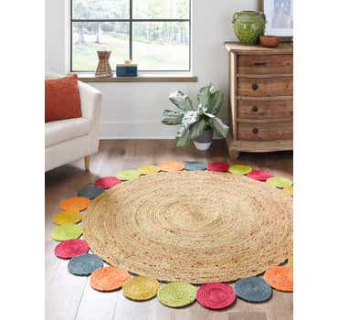 Image of 3' 3 x 3' 3 Braided Jute Round Rug