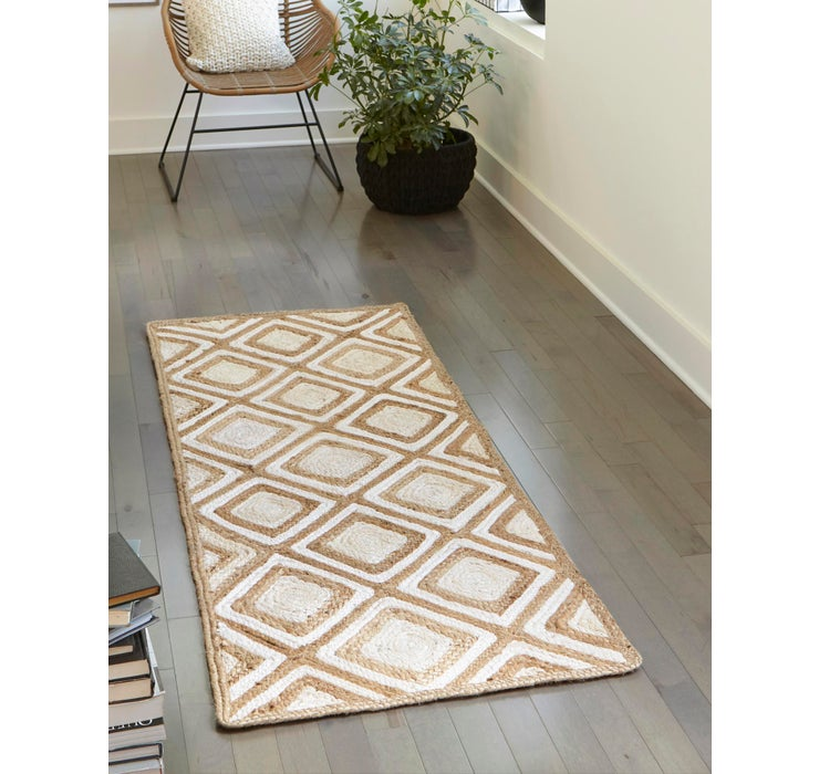 Image of 75cm x 183cm Braided Jute Runner Rug
