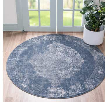 Blue Oregon Round Rug