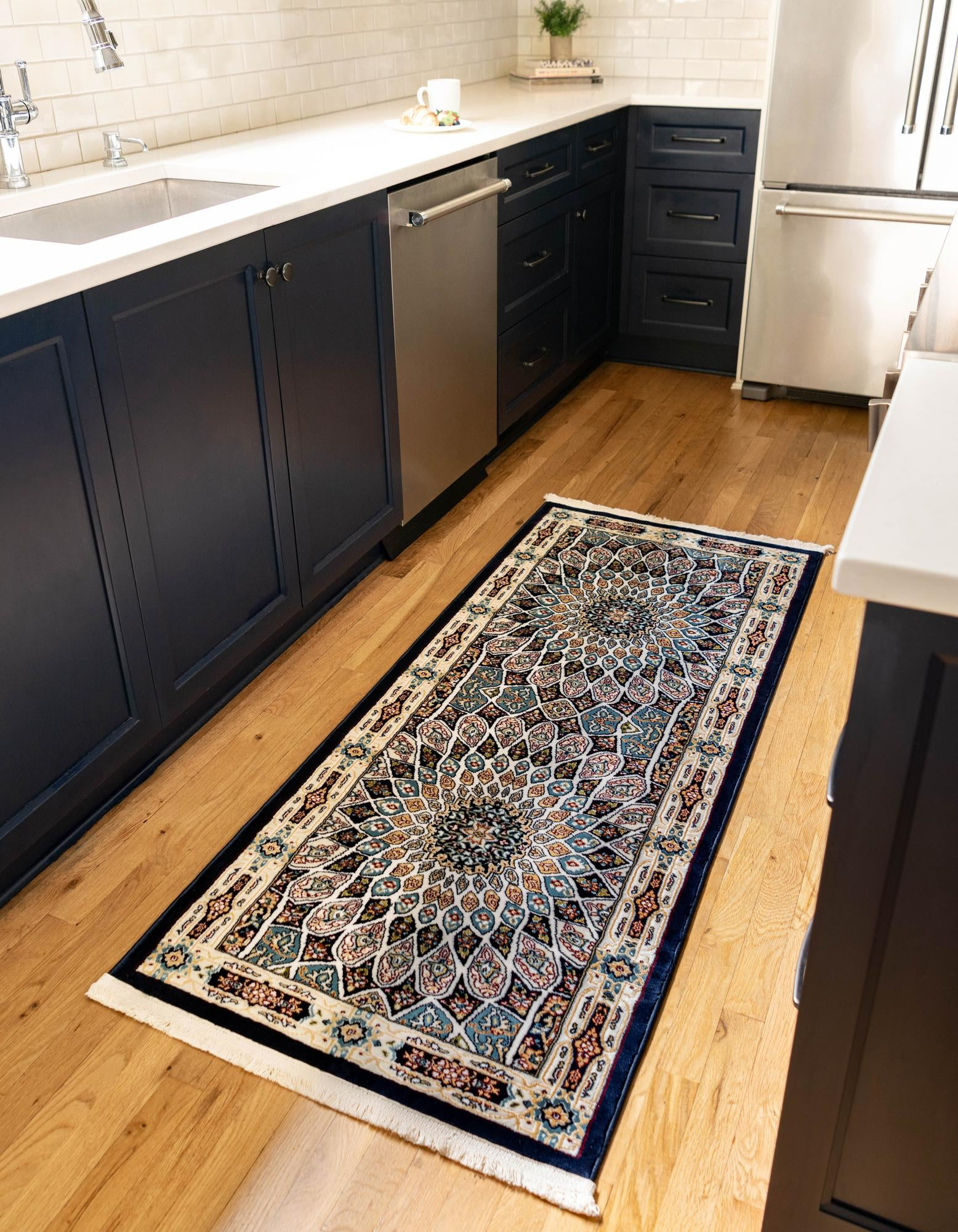 Picture of: Navy Blue 3 X 13 Rabia Runner Rug Rugs Com