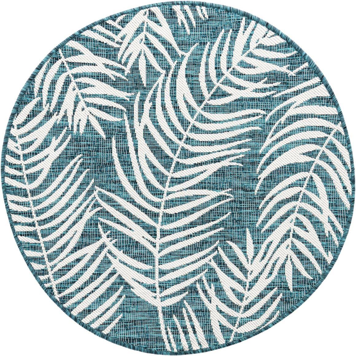 4' x 4' Outdoor Botanical Round Rug main image