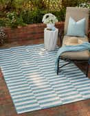 6' x 9' Outdoor Striped Rug thumbnail