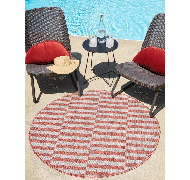 4' x 4' Outdoor Striped Round Rug