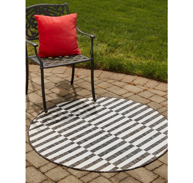 122cm x 122cm Outdoor Striped Round Rug